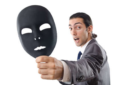 deceitful: Industrial espionage concept with masked businessman Stock Photo