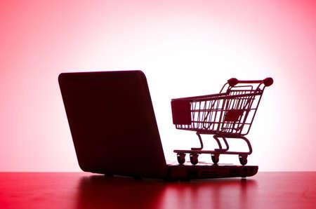 Shopping cart and computer photo