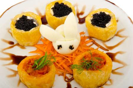 Black caviar served on bread photo