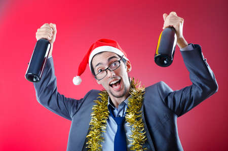 Drunken businessman after office christmas party photo