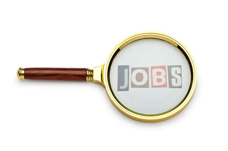 Unemployment concept with magnifying glass Stock Photo - 11241883