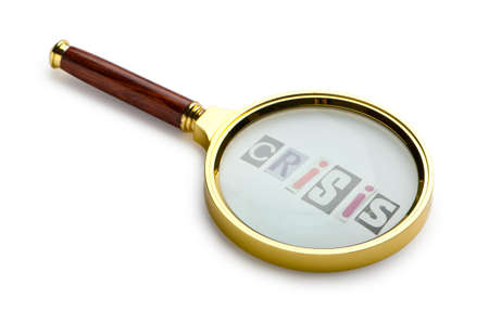 Crisis concept with magnifying glass Stock Photo - 11241885