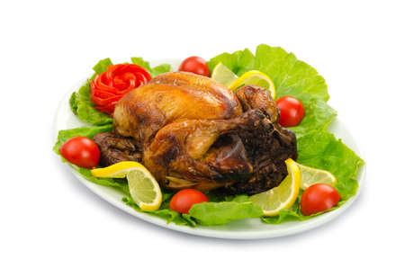 Turkey roasted and served in the plate photo