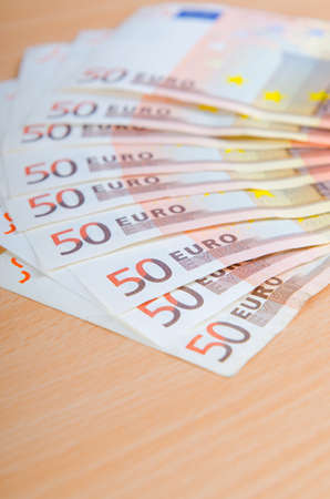 Euro banknotes arranged in set photo