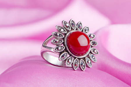 Jewellery ring on the satin background Stock Photo - 11343365