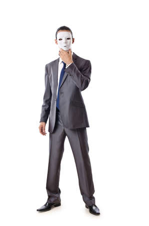 Industrial espionage concept with masked businessman Stock Photo - 11343229