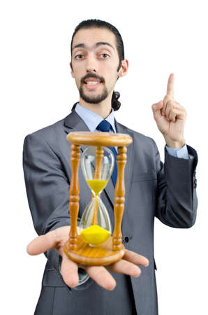 Man holding hourglass on white Stock Photo - 11363936