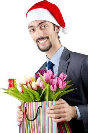 Businessman in christmas celebration concept photo