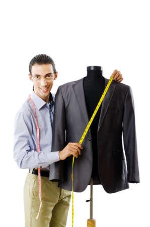 tailor measure: Lavoro adeguati isolato su bianco