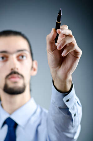 Man pressing virtual buttons photo