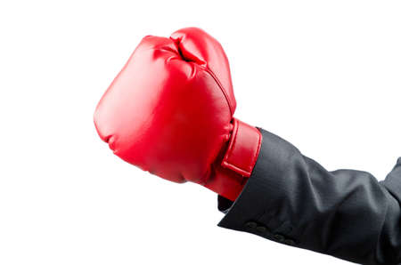 Businessman with boxing gloves photo