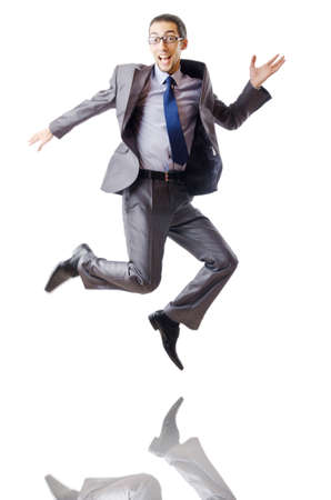 Jumping businessman isolated on white photo