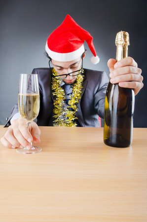 birthday suit: Drunken businessman after office christmas party Stock Photo