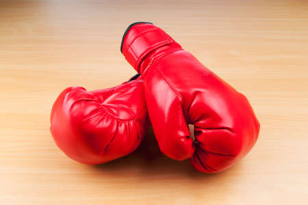boxing ring: Boxing gloves on the table Stock Photo