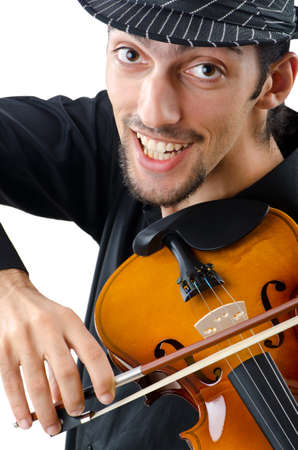 virtuoso: Violin player isolated on white