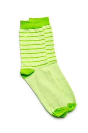 calcetines: Un par de calcetines aislado en blanco Foto de archivo