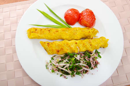 azeri: Traditional azeri kebab made with mashed potato