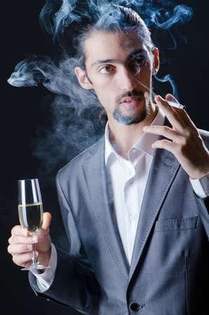 Man tasting wine in glass photo