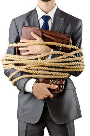 Businessman tied up on white Stock Photo - 11405090