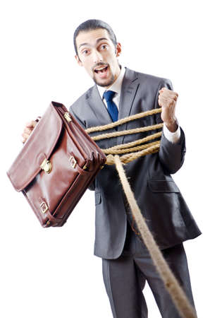 Businessman in the tug of war concept Stock Photo - 11418444