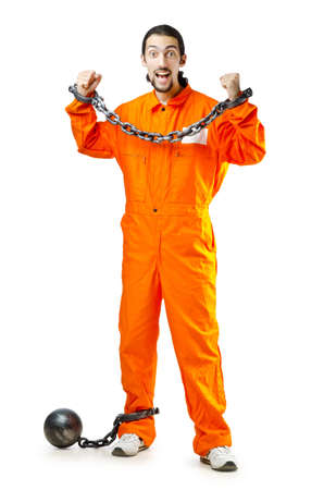 Convict with handcuffs on white Stock Photo - 11418422