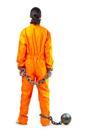 convict: Convict with handcuffs on white