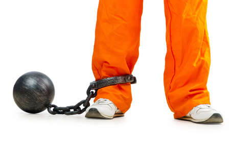 ball and chain: Convict with handcuffs on white
