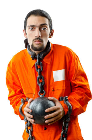 Convict with handcuffs on white Stock Photo - 11418450