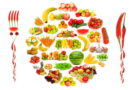 melon fruit: Set of various fruit and vegetables Stock Photo