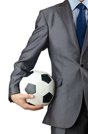 manager: Businessman holding football on white