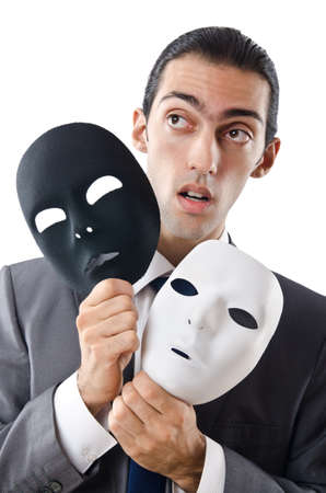 devious: Industrial espionage concept with masked businessman Stock Photo