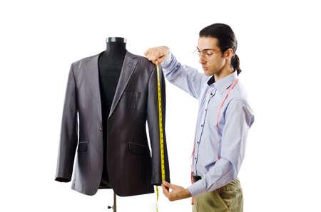 tailor measure: Tailor lavorazione isolato su bianco Archivio Fotografico