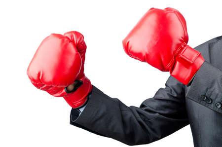 guantes: Hombre de negocios con guantes de boxeo