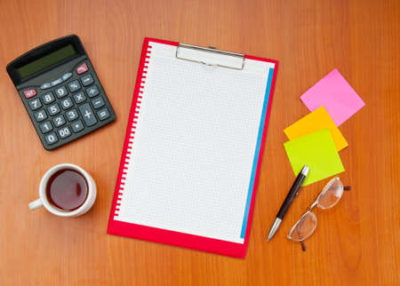 Desk top with many items  photo