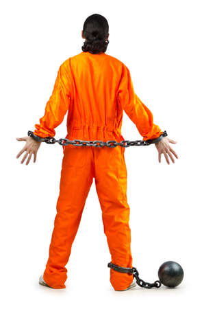 Convict with handcuffs on white Stock Photo - 11405046