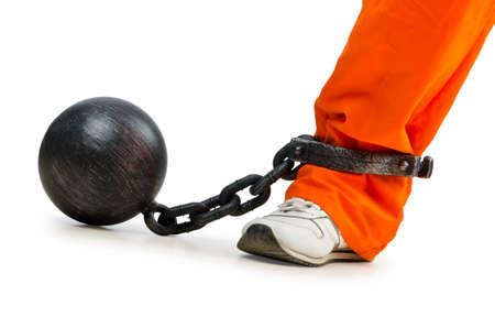 prison ball: Convict with handcuffs on white
