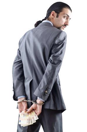 handcuffed: Man geboeid voor zijn misdaden Stockfoto