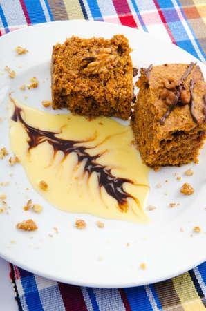 piecies: Sweet cake dessert in the plate Stock Photo