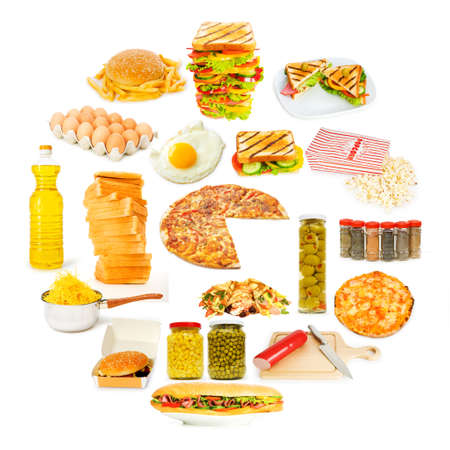 Circle with lots of food items Stock Photo - 11404761