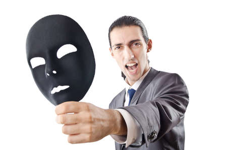 Industrial espionage concept with masked businessman photo