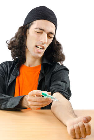 Drug addict during injection photo