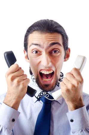 Angry businessman on the phone photo