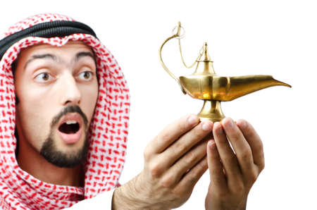 Young arab with lamp Stock Photo