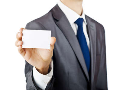 Businessman holding blank message photo