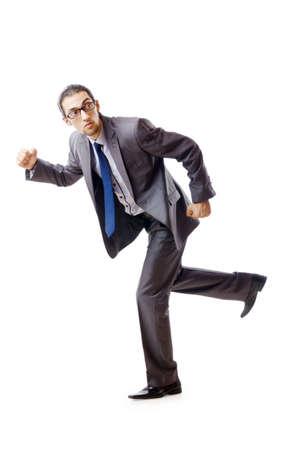 Businessman running for success photo