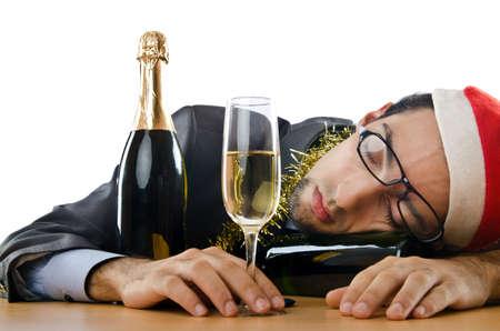 Drunken zakenman na kantoortijd christmas party
