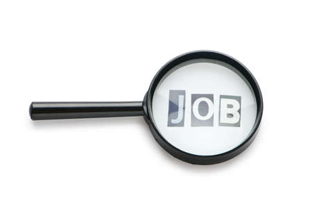 looking for work: Unemployment concept with magnifying glass