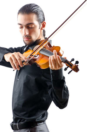 violinista: Violinista aisladas en blanco Foto de archivo