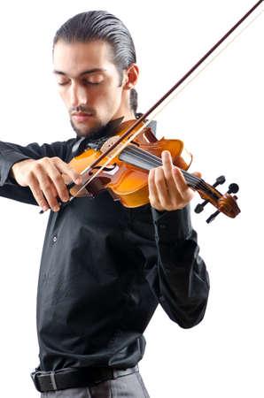 violist: Viool-speler geïsoleerd op wit