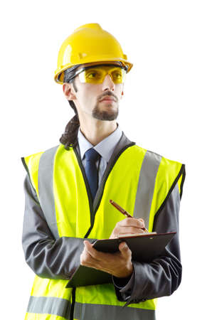 Man with hard hat on white Stock Photo - 11622454